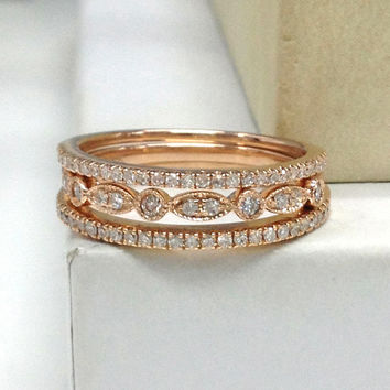 3pcs Diamond Wedding Ring Set!Engagement ring 14K Rose Gold,Stacking Eternity Band,Diamond Matching Band,Anniversary Ring,Art Deco Antique