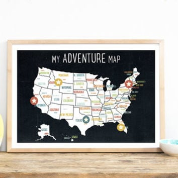 My Adventures USA Map in Black, 12x18, US State Map, USA Capital Map, Educational Art