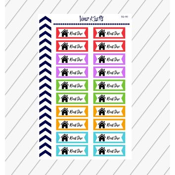 Rent Due Planner Stickers, Rent Reminder Stickers, Pay Bill Stickers, Mortgage Stickers, Finance Stickers, Payment Stickers,  SQ-90