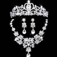 2017 New bridal jewelry crown necklace and earring set tiara rhinestone wedding accessories bridal crystal jewelry sets