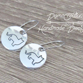 Cat Earrings Sterling Silver, Silver Cat Earrings, Cat Jewelry for Kids, Cat Lady Jewelry, Pet Gifts for Owners, Silver Cat Jewelry