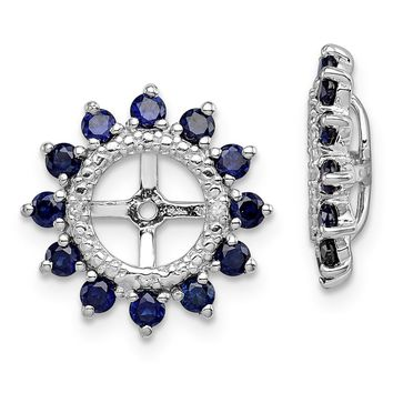 925 Sterling Silver Rhodium Diamond and Created Sapphire Earring Jacket
