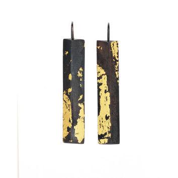 GOLDEN COLUMN Earrings, Sterling Silver and 24K Gold Earring, Oxidized Silver, Contemporary Jewelry, Unique Pattern, One of a Kind