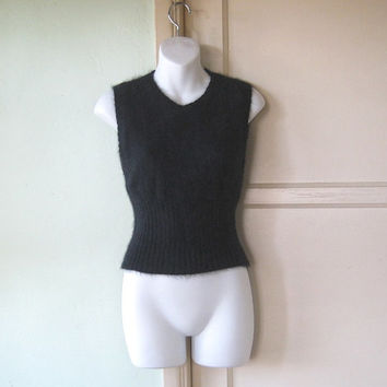 Black Angora Blend Sweater Vest - Small, Sleeveless Black Women's Sweater - Cuddly Solid Black Tank/Sweater Vest