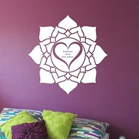 Mandala Heart Wall Decal Vinyl Art Home Decor Namaste Yoga Hindu Buddha Lotus Flower