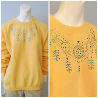 Vintage 1990's Bedazzled Yellow Sweatshirt with Southwestern Dreamcatcher and Feather Design Turquoise and Silver Jewels Crewneck Size Large