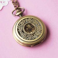 Romantic Pocket Watch Necklace - BONUS PACK Baby Loves Pink Pin Badge and Gift Wrap