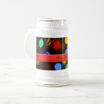 Multicolored Christmas lights. Add text or name. Beer Stein