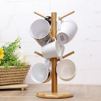 6 hook peg wooden Hanging Tea Cup Coffee Mug Tree Rack Holder Kitchen Storage 18x35cm