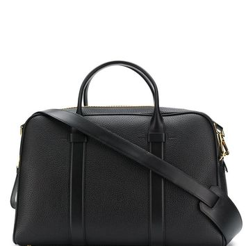 Tom Ford Men Black Classic Holdall Grained Leather Duffle Weekender Bag