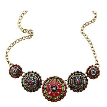 Bohemia Style Enamel Beads Flowers Choker Chains Statement Necklace