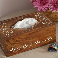 "New Gift Idea - Wooden Tissue Box - Free Shipping - ""Olde Worlde"" Big 10 Inch Rectangular Rosewood Decorative Box for Kitchen, Office and Home - Clearance Sale"