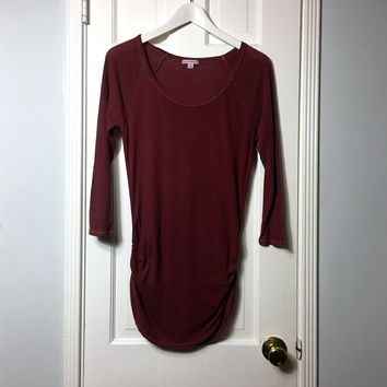 James Perse women's stone washed 3/4 sleeve red t-shirt sz 3