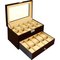 Watch Box 20 Mens Chocolate Leather Hinged Display Glass Top Jewelry Case