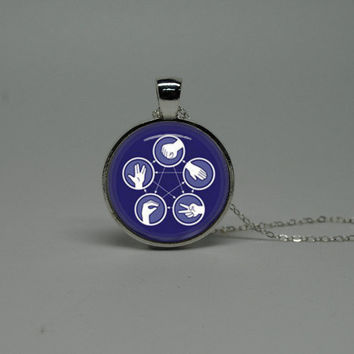 Silver Glass Necklace with Big Bang Theory rock paper scissors lizard spock