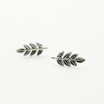 Silver Leaves Earrings, Leaves Stud Earrings, Oxidized Sterling Silver, Minimalist, Nature, Modern Jewelry, Hand Made, Christmas Gift, ST036