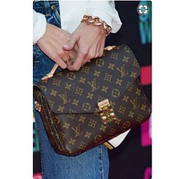 LV Trending Ladies Shopping Print Leather Buckle Crossbody Satchel Shoulder Bag I