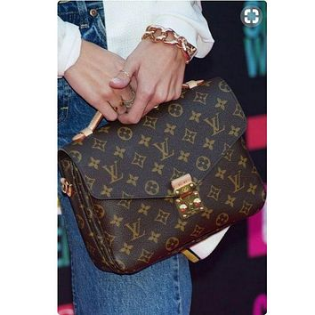 Copy of LV Trending Ladies Shopping Print Leather Buckle Crossbody Satchel Shoulder Bag I