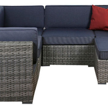 2015 New Design 6-Piece Grey Wicker Seating Set with Grey Cushions
