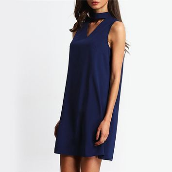 V-neck Sleeveless Bow Knot Loose Solid Short Dress