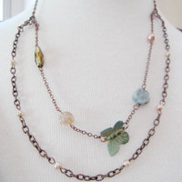 Patina Butterfly, Romantic Bohemian Beaded Necklace, Vintage Layered Necklace,  Blueartichokedesigns