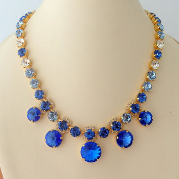Sapphire blue light sapphire clear diamond Swarovski crystal necklace, Statement necklace, Bridal necklace, Tennis necklace, Wedding jewelry