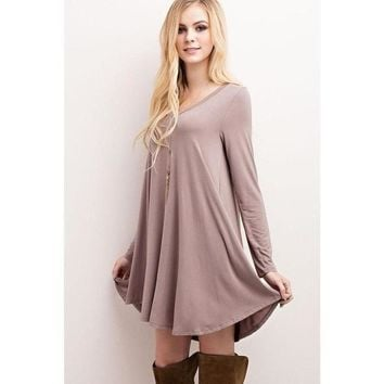 """Nelly"" V-Neck Long Sleeve Dress - Mocha"