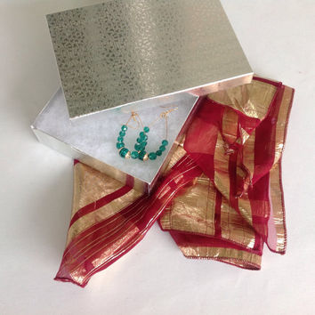Christmas gift wrapped under 25 Gift for Girlfriend, Teal Earring Gift set, Red Gold Silk Scarf, Gift ready to mail out, Holiday Gift box