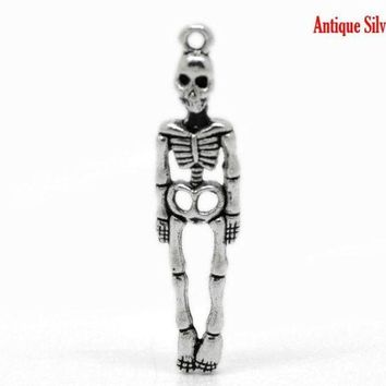 DCCKU62 DoreenBeads 50PCs Antique Silver Halloween Skeleton Body Skull Charm Pendants 39x9mm(1 4/8'x3/8')