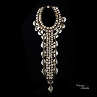 Cowrie And Mother Of Pearl Shells Necklace, Long 'Y' Neck Ornament Papua Handwoven Base Decorated With Shells, Home Accent Decor Nautical