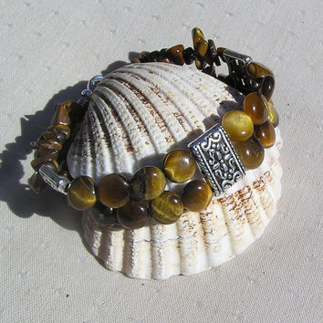 "Gold Tigers Eye Crystal Gemstone Bracelet  - ""Golden Koi"""