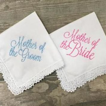 Mother of the Bride  or Mother of the Groom Embroidered Lace Handkerchief