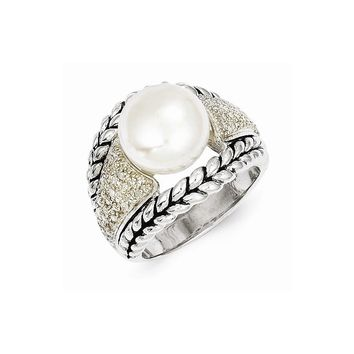 Antique Style Sterling Silver 11.5mm Fresh Water Cultured Pearl & 1/10ct. Diamond Ring