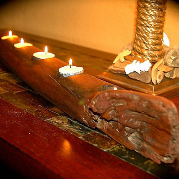 Driftwood Tea Light Candle HolderCandle Holder-Rustic Candle HolderReclaimed Wood Sconce - 2 Feet Long - Sanded And Stained dark-5 Tea Light
