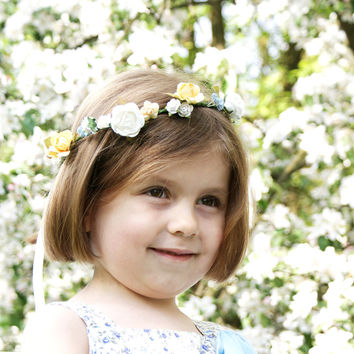 Flower crown, floral crown, Pastel headband, headpiece, Wedding wreath, bridal crown, Photo props, yellow and blue wedding, paper flowers