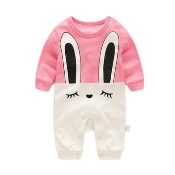 Baby Spring Clothes Long Sleeve Romper Sleep Newborn Air Conditioning Baby One-piece Jumpsuits Rabbit Pattern Rompers