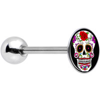 Stainless Steel Flowering White Sugar Skull Barbell Tongue Ring | Body Candy Body Jewelry