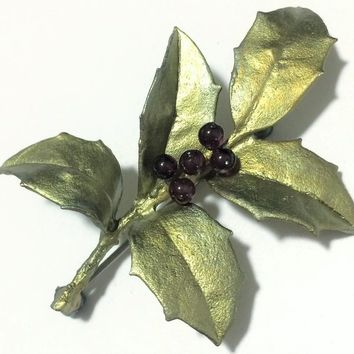 Green Holly Leaf Brooch Pin, Purple Glass Ball Berries, Metallic Leaves, Holiday Seasonal Vintage Jewelry 518m