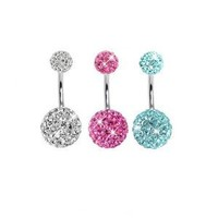 Lot of 3 Pieces 14G Bling Disco Ball Multi Crystal Belly Button Navel Ring Bling Free Retainer