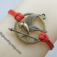 Hunger bird,games jewelry,Bronze bracelet,mocking,bird,jay bracelet,hipster jewelry,charm,couple jewelry,Red