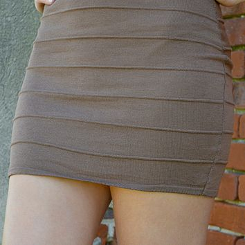 Banded With Love Skirt: Dark Brown