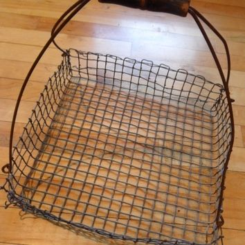 Fab Primitive Large Wire Gathering Basket with Old Black Paint Wood Handle