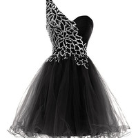 Homecoming Dress,One Shoulder Black Sequins Chiffon Short Prom Dress