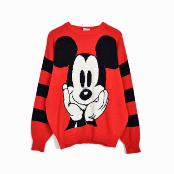 Vintage Disney Mickey Mouse Sweater in Red & Black
