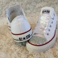 White bling converse. Great wedding shoes.