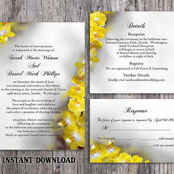 DIY Wedding Invitation Template Set Editable Word File Download Printable Floral Invitation Orchid Wedding Invitation Yellow Invitation