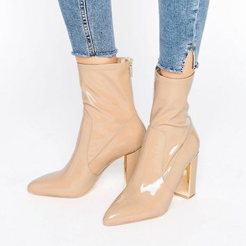 River Island Studio Patent Leather Ankle Boot at asos.com
