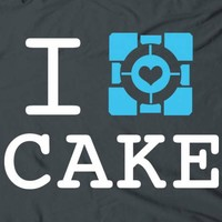 I love cake portal game t-shirt by The Shirt Dudes