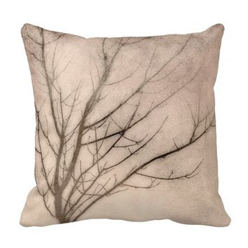 nature art pillow winter tree on sepia