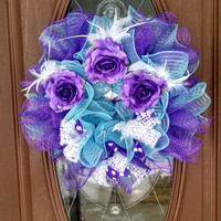 "Deco Mesh Wreath, Ruffle Wreath, Year Round Wreath, Purple & Teal Wreath, Flowers, White Feathers, 21"" Indoor/Outdoor Wreath"